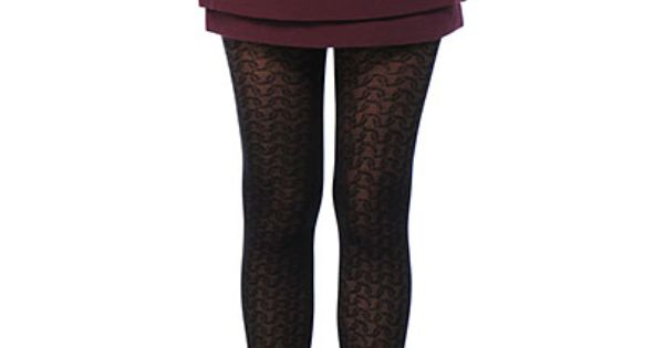 Maroon skirt with black tights