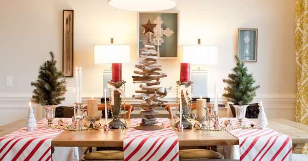 coffered ceiling, that beautiful bench, the perfect holiday decor - great room