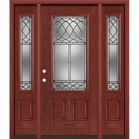 Masonite Sheldon 3 4 Lite Decorative Glass Right Hand Inswing Wineberry Stained Fiberglass Prehung Entry Door With Sidel In 2019 Entry Door With Sidelights Entry Doors Entry Doors With Glass