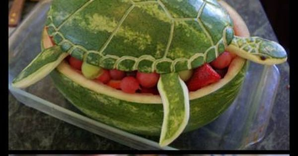 Watermelon Sea Turtle fruit bowl. Cute for a summer party