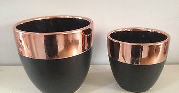 Contemporary Ceramic Rose Gold Copper Amp Matte Black Plant