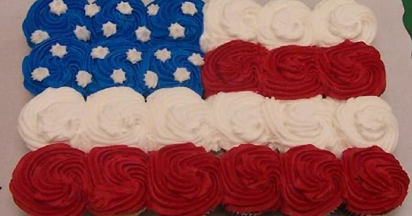 Flag cupcake display for July 4th