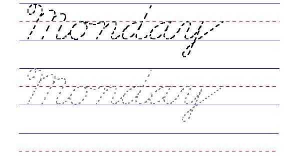 handwriting for kids cursive day of the week monday 2nd grade pinterest cursive. Black Bedroom Furniture Sets. Home Design Ideas