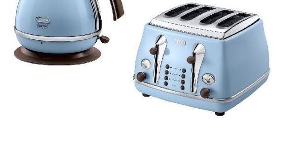Delonghi Icona Vintage Kettle Amp Toaster Set Azure Blue