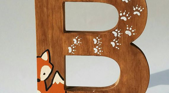 Wooden letters for nursery woodland nursery decor hand for Standing wood letters to paint