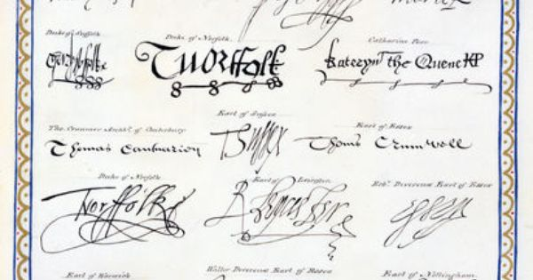39 reproduction of signatures of the tudors and their court for Tudor signatures