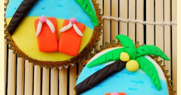Beach party cupcakes...girl