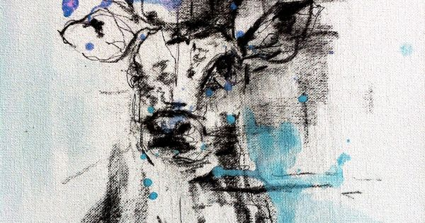 Stag Head Charcoal Watercolours #art #painting ...