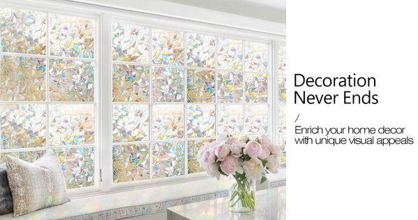 Amazon Com Rabbitgoo 3d Decorative Window Film Non Adhesive Privacy Films Large Window Glass Films For Window Decor Decorative Window Film Window Tint Film