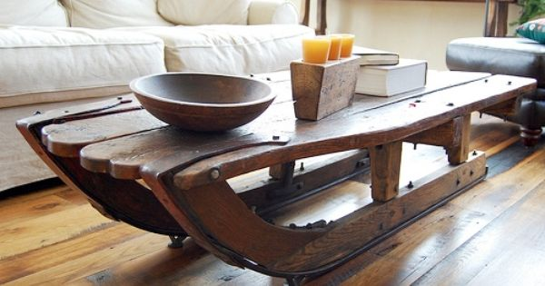 Old sled as a coffee table furniture pinterest for Sled coffee table