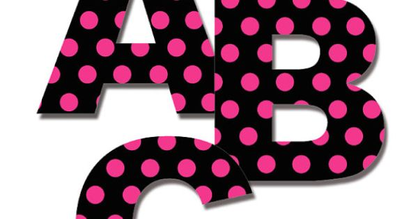 Alphabet Letter Decal Hot Pink Polka Dot Girl Personalize