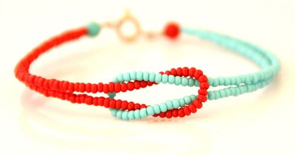 Red Amp Turquoise Seed Bead Knot Bracelet By