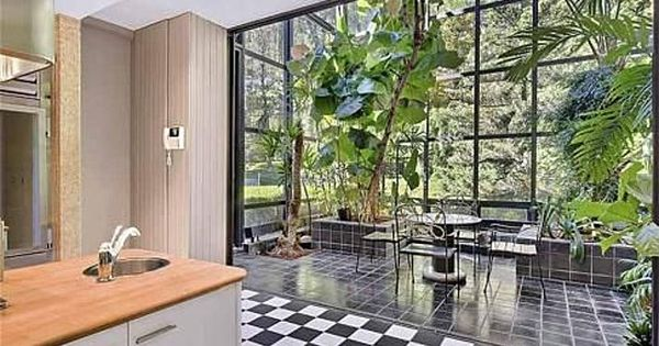Atrium Inspired Dining Nook Is Chock Full Of Sunny Rays And Lush Foliage Kitchen