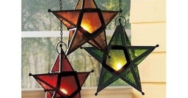 Candle Holders Stained Glass Panel Star Tea Lights Lantern Hanging Votive Decor Lanterne Buon Natale Idee
