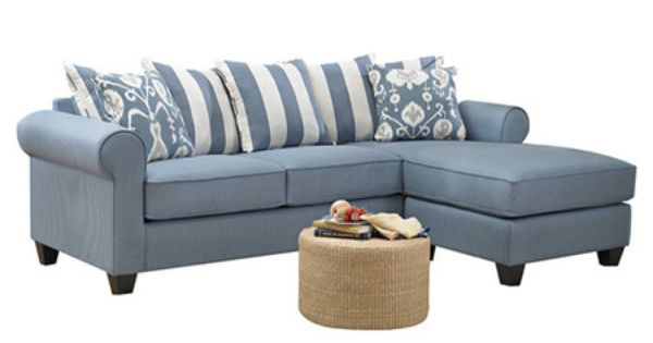 Sectional Sofa With Blue Upholstery And Kiln-dried