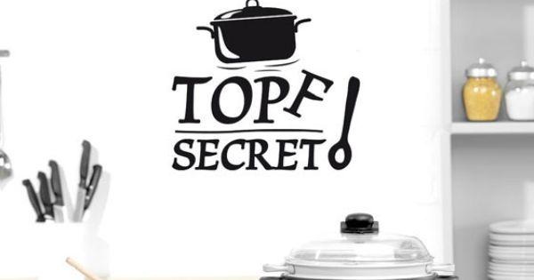 Wandtattoo tattoo wandaufkleber deko f r k che spruch topf secret kochl ffel wanddeko f r - Wandbilder kuchenmotive ...
