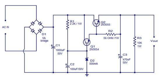 Circuit Schematic Regulated DC Power Supply using ... on power inverter schematic diagram, power supply circuit diagram, 12v voltage regulator circuit diagram, pressure switch wiring diagram, painless wiring diagram, power supply block diagram, power supply wiring diagram, logic circuit diagram, switch circuit diagram, simple circuit diagram, 12v power supply diagram, regulated power supply diagram labeled,