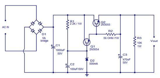 Circuit Schematic Regulated Dc Power Supply Using Transistors Eltronicschool Power Supply Design Power Supply Transistors