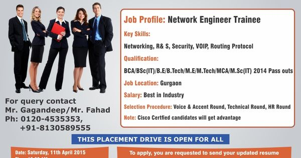 Excellent Opportunity for the CS IT students to work with the - network engineer job description