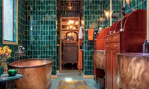 copper tub + teal tile in my dream house plesase