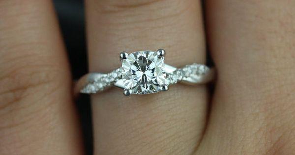 I would love this ring Tressa 14kt White Gold Cushion FB Moissanite