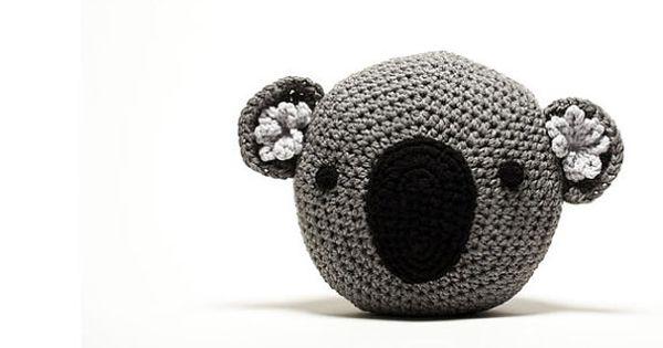Crochet koala pillow handmade gray