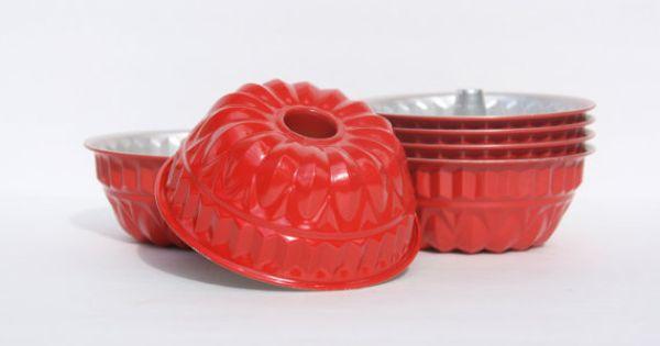 Vintage Red Mini Bundt Cake Pan Jello Molds Storage