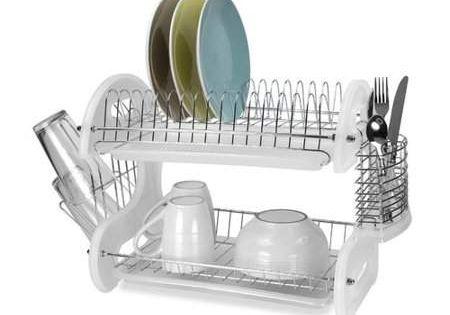 Home Basics 2 Tier Plastic Dish Drainer Dish Racks Dish Drainers Home Basics