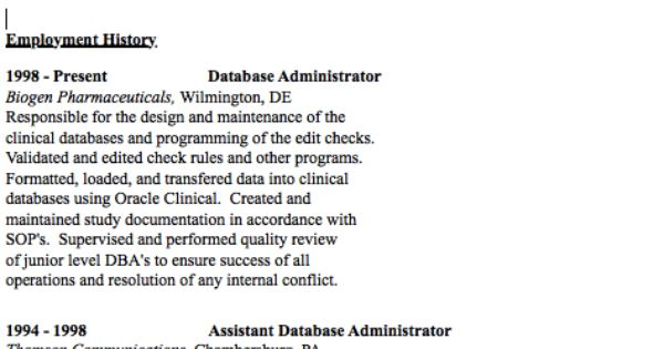 Example of Database Administrator Resume - http\/\/resumesdesign - database administrator resume
