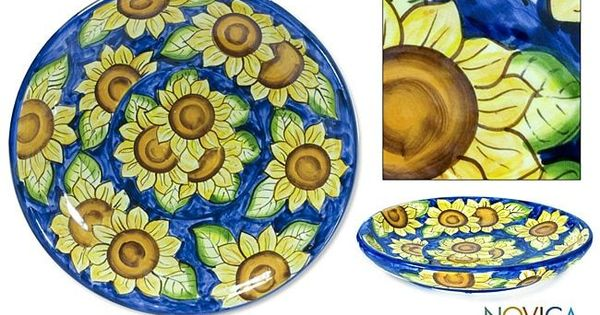 Novica Handcrafted \u0027Sunflowers\u0027 Serving Plate Products Pinterest