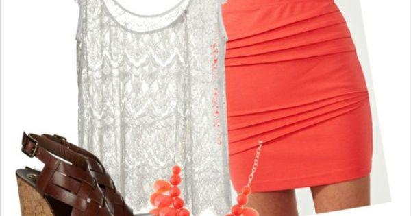 Cute Little Peach Skirt Outfit