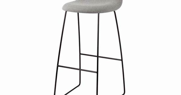 Upholstered sled base fabric stool with footrest GUBI 32 Gubi Chair