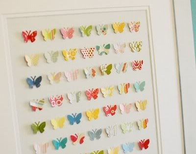 diy: butterfly wall art using paper punch and scrapbook paper