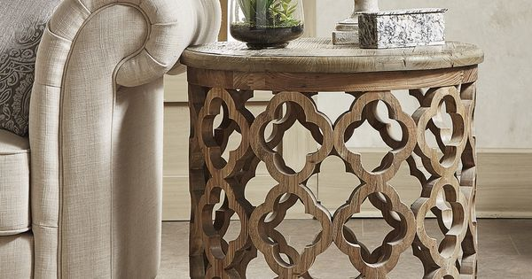 Vince Reclaimed Wood Moroccan Trellis Drum Accent Table By
