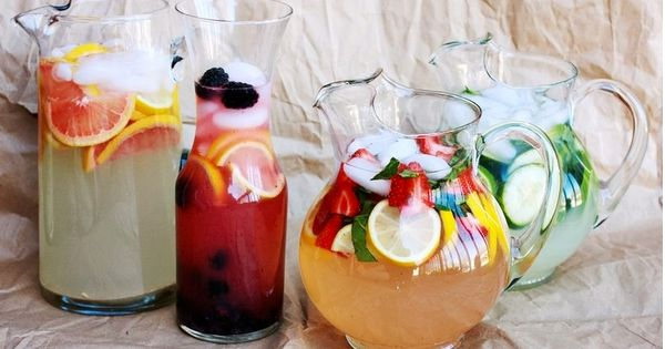 Oh summer drinks :) 4 different lemonade recipes - grapefruit lemonade, strawberry