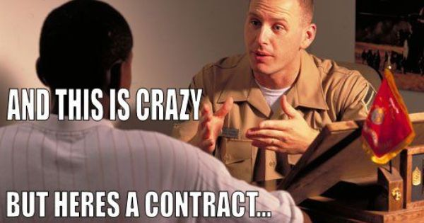 Marinecorps recruiter are you ready to sign on the for Farcical part of speech