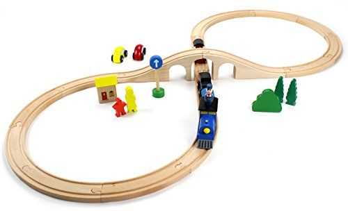 Conductor Carl 22-Piece Bridge Bonanza Wooden Train Track Set
