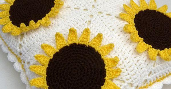 Sunflower Cushion Knitting Pattern : Crochet sunflowers cushion ~?~Crochet Everything and More!~?~ Pinterest ...