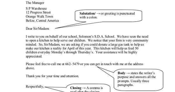 parts formal business letter mopan streetsan jose villageorange - parts of a business letter