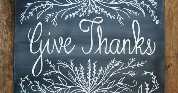 Handpainted chalkboard sign thanksgiving