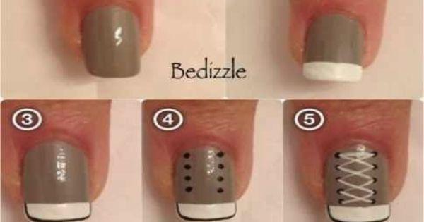 طرق الرسم على الاظافر بالمناكير بخطوات سهله بالصور حوريات Converse Nails Sneaker Nails Nail Designs