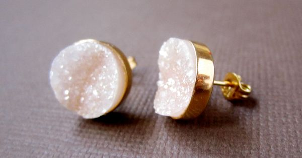 Peach druzy drusy quartz 24k gold vermeil stud earrings peaches and