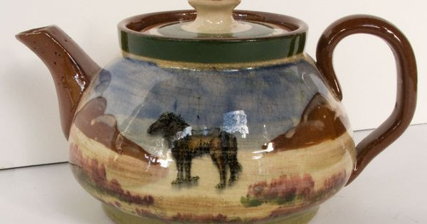 Royal Devon Art Pottery Exeter Teapot With Landscape And