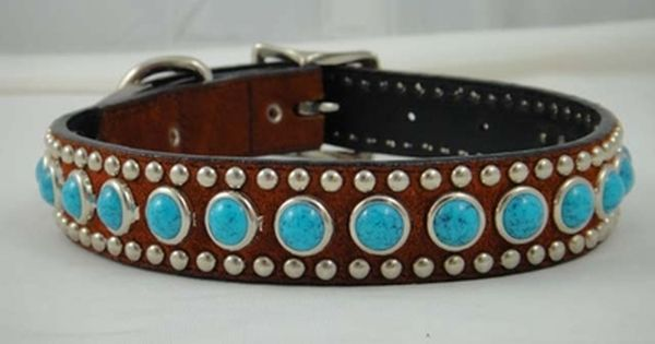 Woofwear Suede Turquoise Rounds Dog Collar Leather Dog Collars