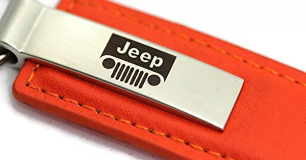 Jeep Grill Leather Key Chain Orange Rectangular Key Ring Fob