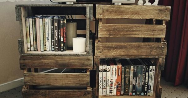 Tv stand movie shelf made out of crates so easy diy for Shelves made out of crates