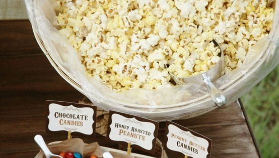 """Popcorn bar: great """"make your own"""" party snack, perfect for slumber parties,"""