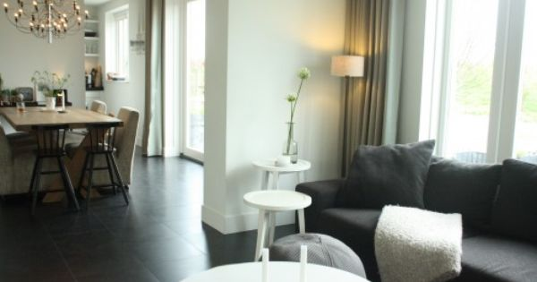 Loving The Black Tile Floors And The Neutral Colour Scheme