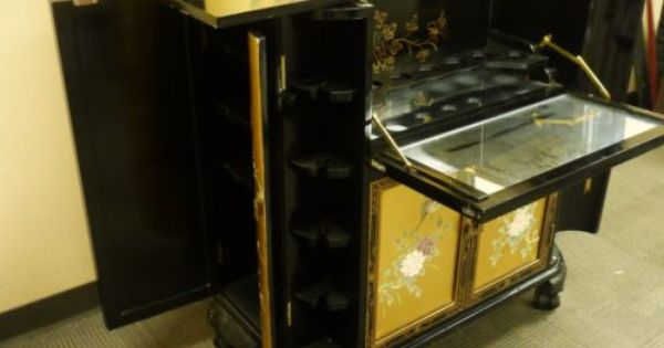 Oriental Asian Japanese Chinese Black and Golden Lacquer Liquor Bar Cabinet  | eBay
