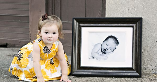 1st year picture with first baby picture